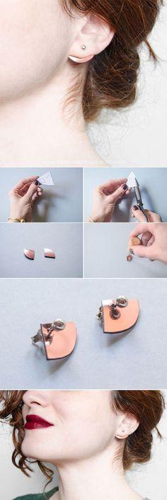 DIY Minimal copper earrings · DIY Pendientes minimalistas cobres · Fábrica de Imaginación · Design your own jewelry! Tutorial with steps in Spanish