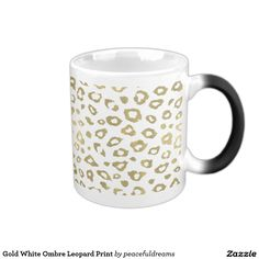 Gold White Ombre Leopard Print 11 Oz Magic Heat Color-Changing Coffee Mug