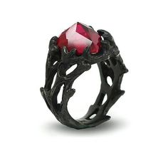 Ruby Heart Black Ring Sterling Silver Women's Designer Ring Unique Engagement Ring Free Shipping