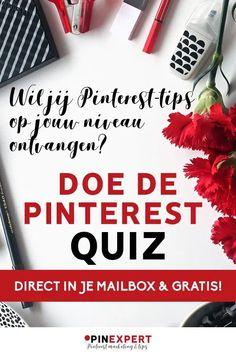 Ben je ondernemer of blogger en wil je Pinterest inzetten als onderdeel van jouw online marketing? En kun je wel wat Pinterest tips hierbij gebruiken? Doe deze quiz, kom erachter waar je staat en ontvang direct gratis tips op jouw niveau. #pinterest #quiz #ondernemen