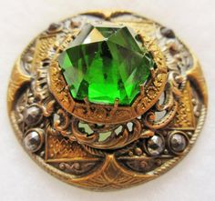 Most Spectacular LARGE Antique GAY 90's Metal BUTTON Emerald GLASS & Cut Steels