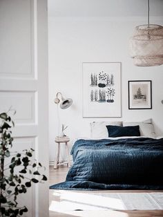 White and blue - calm bedroom with natural elements