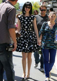 Krysten Ritter in a polka dot Alice & Olivia dress