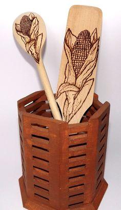 Pop Corn wood Spoon and Spatula Set / Woodburned / by MyCraftmania, $17.00