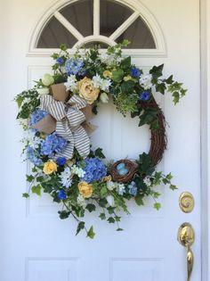 Spring Wreath-Summer Wreath-Bird's Nest by ReginasGarden on Etsy