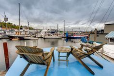 'Anne Rebecca' houseboat was built on the hull of a fishing vessel This home was a shipwright's labor of love Floating Homes, Fishing Vessel, Outdoor Furniture, Outdoor Decor, Sun Lounger, Building, Home Decor, Fleetwood Homes, Houseboats