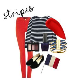 """""""Stripes~"""" by voguebabyxo ❤ liked on Polyvore featuring J Brand, Monki, NARS Cosmetics, OPI, Lipstick Queen, Jayson Home, Michael Kors, stripes, fashionWeek and fashionset"""