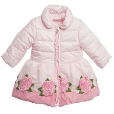 Miss Blumarine Baby Girls Pink Coat with Embroidered Roses (£263) ❤ liked on Polyvore