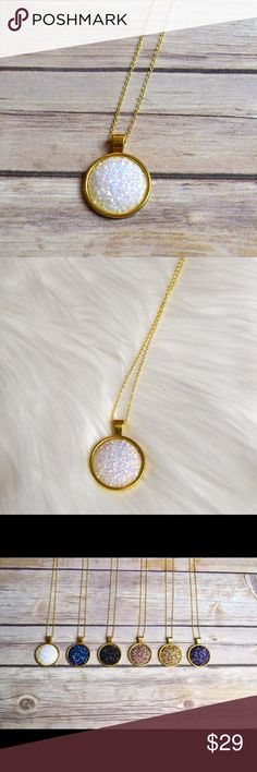 """🆕 White Druzy Pendant Necklace 25mm Druzy pendant on a 30"""" gold chain. Other colors in pictures are available in separate listings. Nickel and lead compliant.  No trades. Price firm unless bundled. Jewelry Necklaces"""