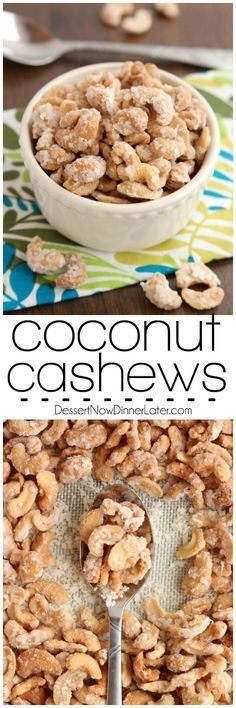 These Coconut Cashews inspired by Trader Joe's are made with coconut milk coconut oil sugar and coconut flakes to create some incredibly delicious candied nuts! Yummy Snacks, Snack Recipes, Dessert Recipes, Cooking Recipes, Yummy Food, Appetizer Recipes, Appetizers, Tasty, Candied Nuts