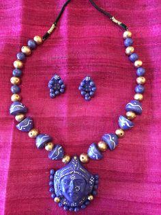 Antique Handmade Clay Terracotta Jewelry/ Ethnic Jewelry - Purple & Gold