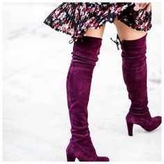 Shoes: tumblr boots purple suede suede boots over the knee boots over the knee high heels boots