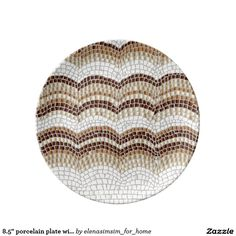 8.5'' porcelain plate with beige mosaic
