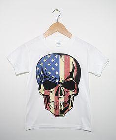 White & Blue Flag Skull Tee - Boys