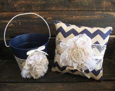 Flower Girl Basket Ring Bearer Pillow Shabby Chic Wedding Rustic Wedding Navy Blue Chevron Linen and Lace