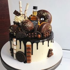 Image may contain: dessert and food 18th Birthday Cake For Guys, Alcohol Birthday Cake, Birthday Cake For Boyfriend, Alcohol Cake, 40th Birthday Cakes, 21st Cake, Chocolate Birthday Cake For Men, Boyfriend Cake, Birthday Ideas