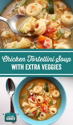 Chicken Tortellini Soup with Extra Veggies - Real Life Dinner Veggie Side Dishes, Side Dish Recipes, Soup Recipes, Chicken Recipes, Dinner Recipes, Cooking Recipes, Recipies, Easy Healthy Recipes, Easy Meals