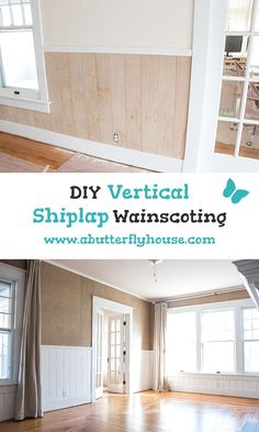 How to Install DIY Vertical Shiplap Wainscoting - A Butterfly House Love shiplap? Check out this DIY Shiplap Bathroom, Wainscoting, Small Bathroom, Home Repair Services, Faux Shiplap, Shiplap Diy, Faux Beams, Installing Shiplap, Ship Lap Walls