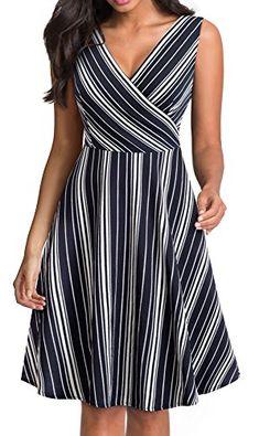 HOMEYEE Women's V-Neck Sleeveless Striped Casual Dress women dresses casual Best Casual Dresses, Next Dresses, Fall Dresses, Stylish Dresses, Dresses For Work, Dress Casual, Western Dresses For Women, Dress Outfits, Fashion Dresses
