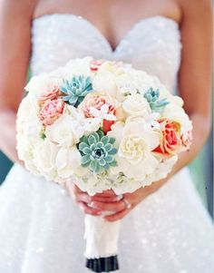 Bridal Bouquet Inspiration - no succulents, include natural blue hydrangea, coral roses, stephanotis