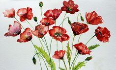Bunch of red poppies #red #poppies #flowers #floral #watercolors #print #singhrohaart #poppy #painting #spring #blooming #flowerarrangement #artwork