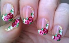 French Flower Nail Design at Home For Beginners