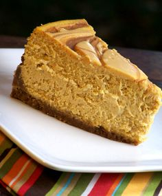 A pumpkin cheesecake swirled with sections of caramel cheesecake and then drizzled with even more caramel on top.