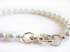 Dog Collar White Pearl Pet Jewelry Necklace Collar by BeadzNBling. $22.00, via Etsy.