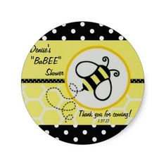 Baby Bee Baby Shower Label Sticker