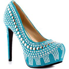 Two Lips - Studlee  Price: $75  Get stellar in this edgy blue pump by 2 Lips. The Studlee will not only stun you with its bold stud design but deliver sultry height with a 5 inch heel. A covered 1 inch platform creates the perfect amount of balance to this sexy style.
