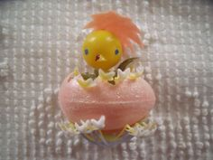 Vintage Plastic Egg Hatching a Baby Chick Easter Pick