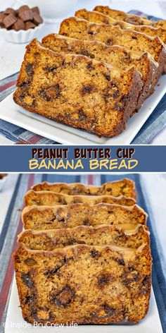 Peanut Butter Cup Banana Bread - this Reese's banana bread is loaded with mini peanut butter cups and topped with peanut butter glaze. Make this easy recipe when you have ripe bananas. Sour Cream Banana Bread, Peanut Butter Banana Bread, Easy Banana Bread, Chocolate Banana Bread, Reeses Peanut Butter, Banana Bread Recipes, Quick Bread, Easy Desserts, Dessert Recipes