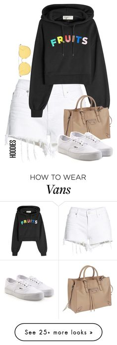 """Ball"" by hipster-bohemian on Polyvore featuring Hudson Jeans, Être Cécile, Balenciaga, Vans and Hoodies"