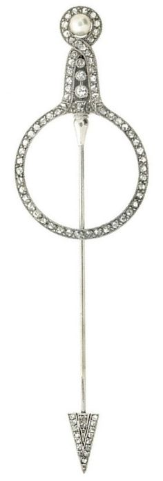 Art Deco Pearl, Diamond & Platinum Jabot Pin by Cartier 1920