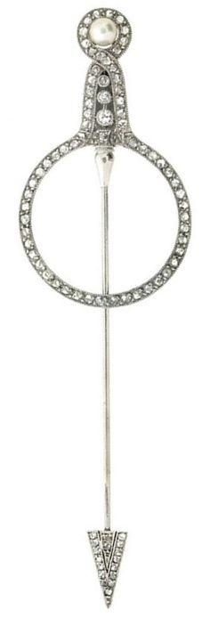 An Art Deco pearl, diamond and platinum jabot pin by Cartier Paris, c.1920.  Signed 'CARTIER PARIS LONDRES NEW YORK', numbered. #ArtDeco #Cartier #Jabot #Pin