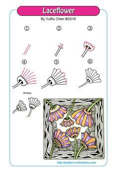 laceflower / lace flower tangle pattern -bu-yuru-chen PatternCollections.com