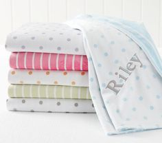 Dot Stripe Chamois Stroller Blanket For the new Shehorn baby? Yellow polka dots with her name in purple? What do you think Sherrill ? Diaper Bag Checklist, Pottery Barn Baby, Stroller Blanket, Baby Yellow, Homemade Baby, Baby Love, Baby Kids, Baby Baby, Bed Pillows