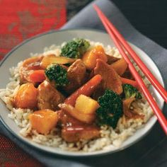 Pineapple Pork Stir-Fry- Making similar to this tonight, though will be grilling my pork tenderloin. Don't have broccoli, so subbing pea pods, and using fresh pineapple, so the juice will be OJ.