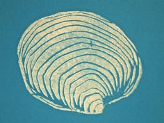 Clam Shell Cards- 4 Original Linocut Prints. $10,00, via Etsy.