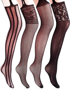 Victorian Stockings, Socks, Hosiery, Tights Vero Monte 4 Pairs Womens Fishnet Tights Suspender Pantyhose Stretchy Stockings $17.99 AT vintagedancer.com