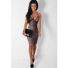 Vixen Leopard Print Bodycon Midi Dress