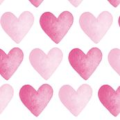 Watercolour Hearts Pink by hazel_fisher_creations