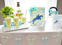 Kentucky Derby Bar with Frozen Mint Juleps & Printables Fun Party Games, Party Themes, Party Ideas, My Old Kentucky Home, Kentucky Derby, Homemade Slip And Slide, Party Printables, Free Printables, Outdoor Party Foods