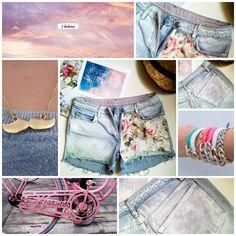 OMBRE SHORTS tęcza ćwieki KWIATY spodenki jeans!!   Flower shorts
