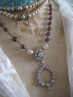 Necklace, vintage, rhinestones, purple, blue, beads and pearls.