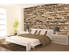 Fotobehang papier Stenen muur rood 254x184 cm kopen bij HORNBACH Bedroom Flooring, Bedroom Wall, Bedroom Decor, Modern Furniture, Outdoor Furniture Sets, Simple Bed Frame, Inspiration Wall, Stone Flooring, Brick Wall