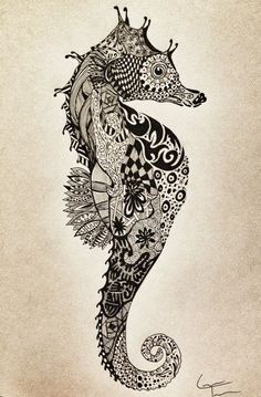 Designs for Zentangles | Designs for Zentangles | SeaHorse Zentangle Design | I Love