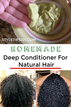 Homemade Deep Conditioner For Natural Hair - Hair Care Homemade Deep Conditioner, Deep Conditioner For Natural Hair, Homemade Conditioner, Afro Hair Conditioner, Curly Hair Styles, Natural Hair Styles, Styling Natural Hair, Kids Natural Hair, Natural Hair Recipes