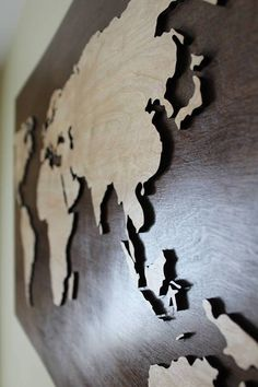 If you desire something unusual and absolutely unique, this map is suitable for you!  Map is made from wood, light continents placed on walnut background, it will make your office look so luxury, perfect above fireplace or whenever you want! Don't hesitate to make your interior sumptuous!  https://www.etsy.com/ie/listing/286683995/unique-wooden-world-map?ref=listing-shop-header-0