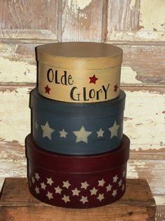 Olde Glory Star Nesting Boxes - Patriotic - Primitive Americana Decor